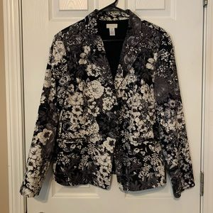 Chico's blazer black and grey floral